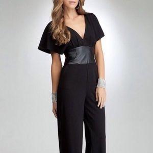 Bebe V-neck Jumpsuit Size M Black Long Cap Sleeves